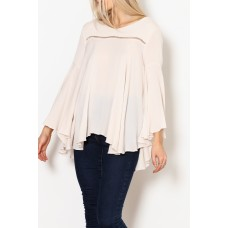 Women A.N. Designs Bell-Sleeve Flowy Blouse Elegant and beautiful 80% cotton 20% rayon B 1548945 ZAHOGOR