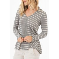 Women rag poets Everest Striped-Hooded Top Elegant and beautiful 60% Cotton/40% Polyester RP-06 ERNWQOO